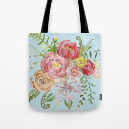 Bouquet of Watercolor on Blue Background Tote Bag