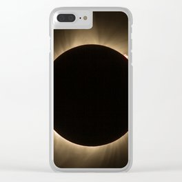 Flares - Total Solar Eclipse with Subdued Corona and Sun Bursts Clear iPhone Case