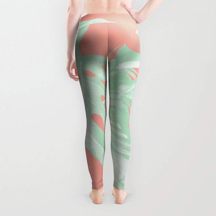 Island Love Coral Pink + Light Green Leggings