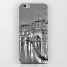 Bonaparte bridge in Lyon, France - hdr b&w iPhone Skin