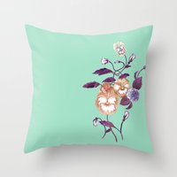 decal Throw Pillows featuring Pansy Decal Purple Peach Mint  by ThistleandFox