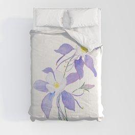 purple columbine flower Comforters