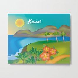 Kauai, Hawaii - Skyline Illustration by Loose Petals Metal Print