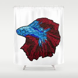 Betta Fighting Fish_Red Shower Curtain