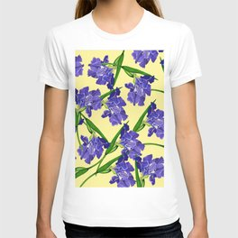 Watercolour Iris on Yellow T-shirt