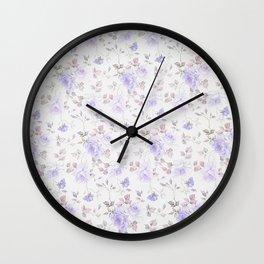 Lavender gray elegant vintage roses floral Wall Clock