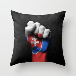 Slovakian Flag on a Raised Clenched Fist Throw Pillow