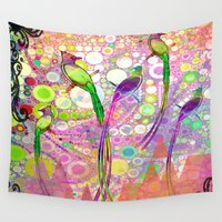 batik Wall Tapestries featuring BATIK BIRDS by AlyZen Moonshadow