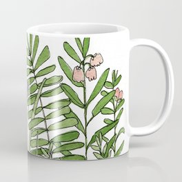 Watercolor Woodland Ferns and Violets Delicate Detailed Nature Art Coffee Mug