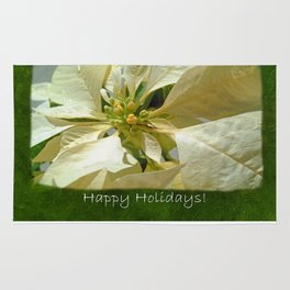 Pale Yellow Poinsettia 1 Happy Holidays P1F5 Rug