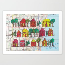 Cedarburg and Grafton, WI Continuous Line Drawing on vintage map Art Print