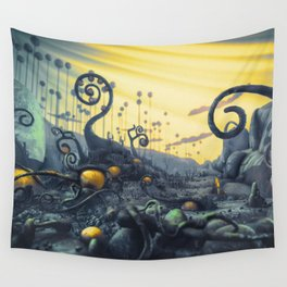 Yellow Eggs in Pistachio Forest Wall Tapestry