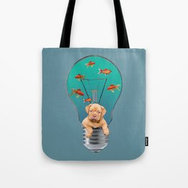 Bordeaux Bulldog Puppy in Bulb with goldfishes Tote Bag