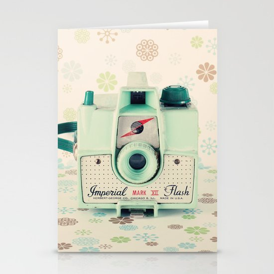 Mint Retro Film Camera on Beige - Cream Pattern Background  Stationery Cards