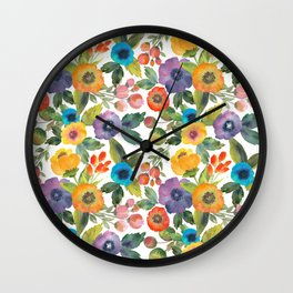 Scattered Poppies Wall Clock