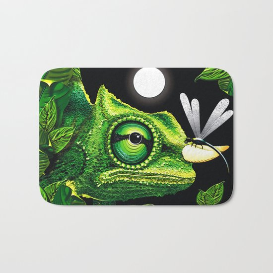 Chameleon and Dragonfly on Moonlight Bath Mat