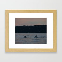 Kayakers On a Lake Framed Art Print