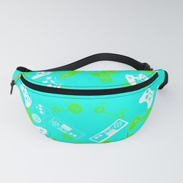 Video Games green on light blue Fanny Pack
