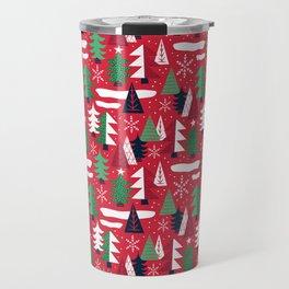Trees - Xmas Pattern (Red) Travel Mug