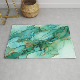Emerald Gold Waves Abstract Ink Rug