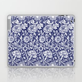 "William Morris Floral Pattern | ""Pink and Rose"" in Navy Blue and White Laptop & iPad Skin"