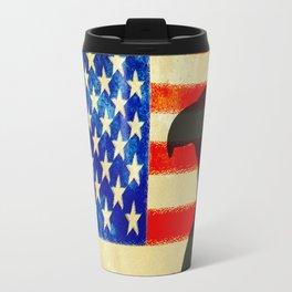US flag with silhouette Bald Eagle Travel Mug