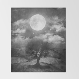 Black and white - Once upon a time... The lone tree. Throw Blanket