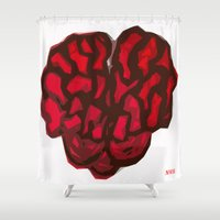 brain Shower Curtains featuring Brain by Myles Hunt