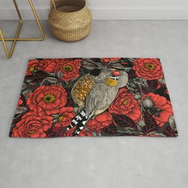 Zebra finch and red rose bush  Rug