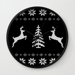 Reindeer and Christmas tree xmas knit design Wall Clock