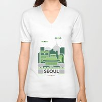 seoul V-neck T-shirts featuring City Illustrations (Seoul, South Korea) by Nuthon Design