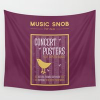 posters Wall Tapestries featuring Hipster Concert Posters — Music Snob Tip #421 by Elizabeth Owens