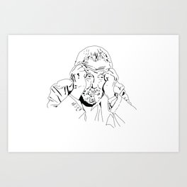 MIKE LEIGH ROUNDTABLE FACE Art Print