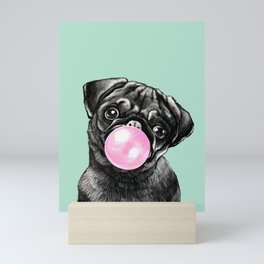 Bubble Gum Black Pug in Green Mini Art Print