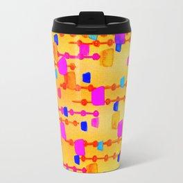POLKA DOT MATRIX - Bright Bold Cheerful Dotty Geometric Squares Circles Abstract Watercolor Painting Travel Mug