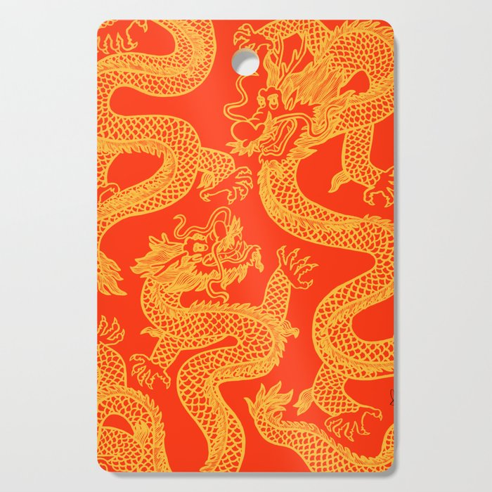 Red and Gold Battling Dragons Cutting Board