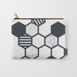 Marble Hex White Carry-All Pouch