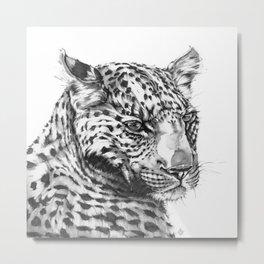 Leopard (Black & White) Metal Print