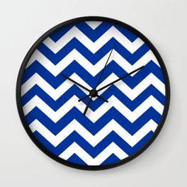 Smalt (Dark powder blue) - blue color - Zigzag Chevron Pattern Wall Clock