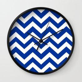 Smalt (Dark powder blue) - blue color - Zigzag Chevron Pattern Wall Clock