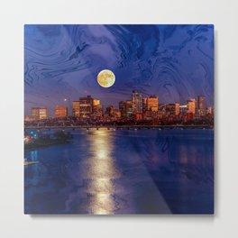 Moon light night, Boston MA Metal Print