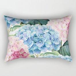 Pink Blue Hydrangea Rectangular Pillow