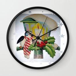 Winter Wonderland Bird Sitting On Vintage Street Lantern  Wall Clock