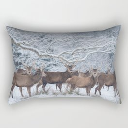 Red deers  from wintry Killarney National Park Rectangular Pillow