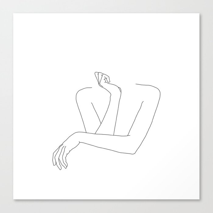 Minimal line drawing of woman's folded arms - Anna Leinwanddruck
