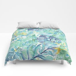 Modern teal green yellow watercolor tropical leaves Comforters