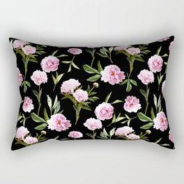 Peonies in Her Dreams - black Rectangular Pillow
