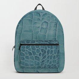 Croco leather effect - Aqua blue Backpack