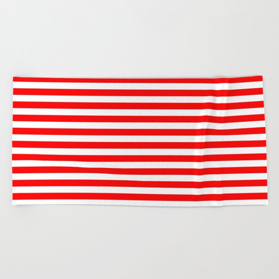 Horizontal Stripes (Red/White) Beach Towel