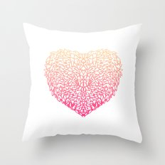Pink Heart - Light White background Throw Pillow
